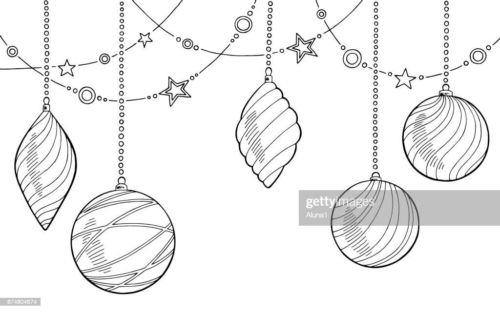 Weihnachten Kugeln Grafik Silvester Skizze Hintergrund Illustration ...