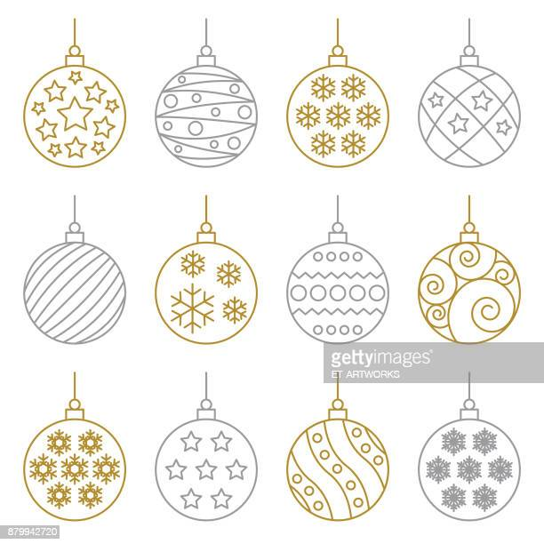 christmas balls - christmas ornament stock illustrations
