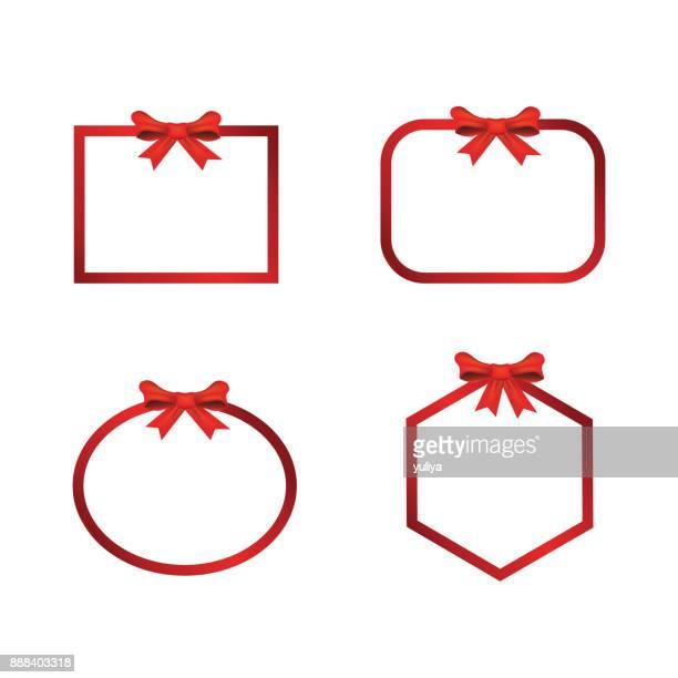 illustrations, cliparts, dessins animés et icônes de bannière de noël frame bow - cadeau