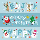 Christmas Banner, Santa Claus and Friends with Lettering