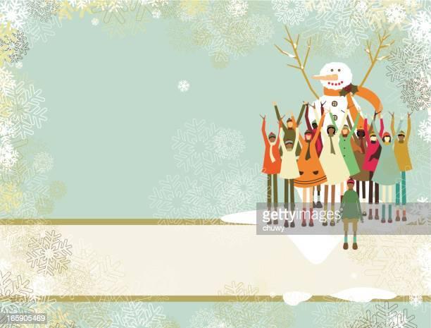 ilustraciones, imágenes clip art, dibujos animados e iconos de stock de banners de navidad con muñeco de nieve y los niños - chuwy