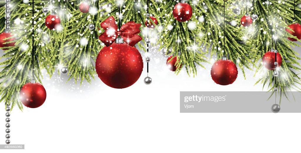 Christmas banner with spruce twigs