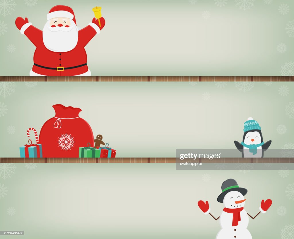 Christmas banners set with decoration elements. Santa Claus, Christmas Tree, Gift boxes and other christmas elements. Vector