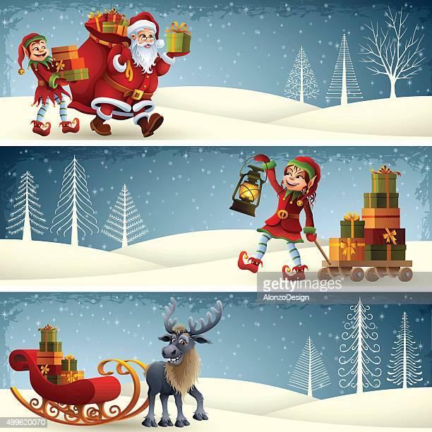 クリスマスバナー - サンタ ソリ点のイラスト素材/クリップアート素材/マンガ素材/アイコン素材