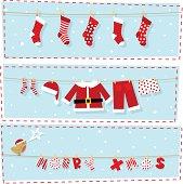 Christmas banners, xmas stocking & santa claus costume