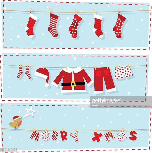 illustrazioni stock, clip art, cartoni animati e icone di tendenza di banner di natale, natale regali & costume da babbo natale - calza della befana