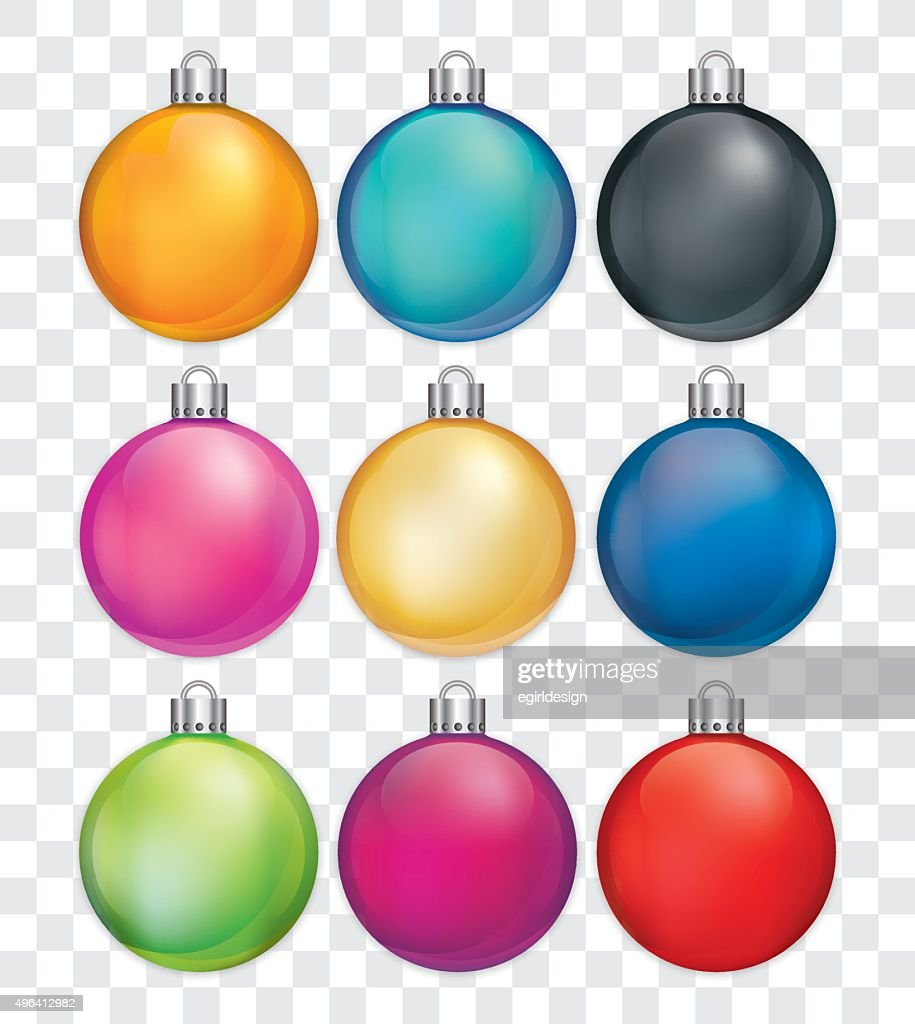 Christmas baubles in various colours.
