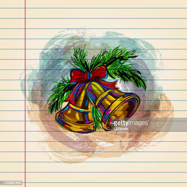 christmas bell drawing on ruled paper - chinese lantern lily stock illustrations