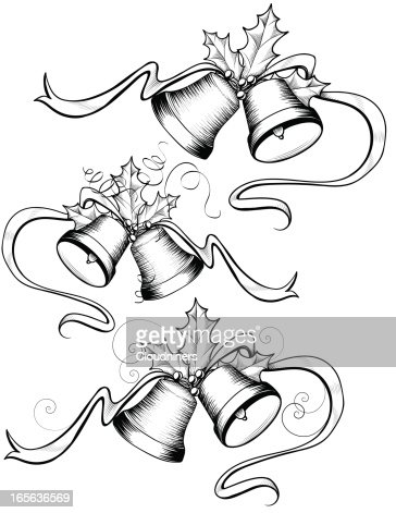 Christmas Bell Set With Holly Vintage Vector Art