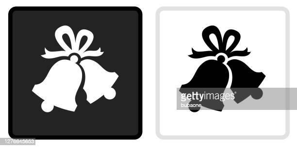 illustrations, cliparts, dessins animés et icônes de icône de cloches de noël sur le bouton noir avec le rollover blanc - cloche