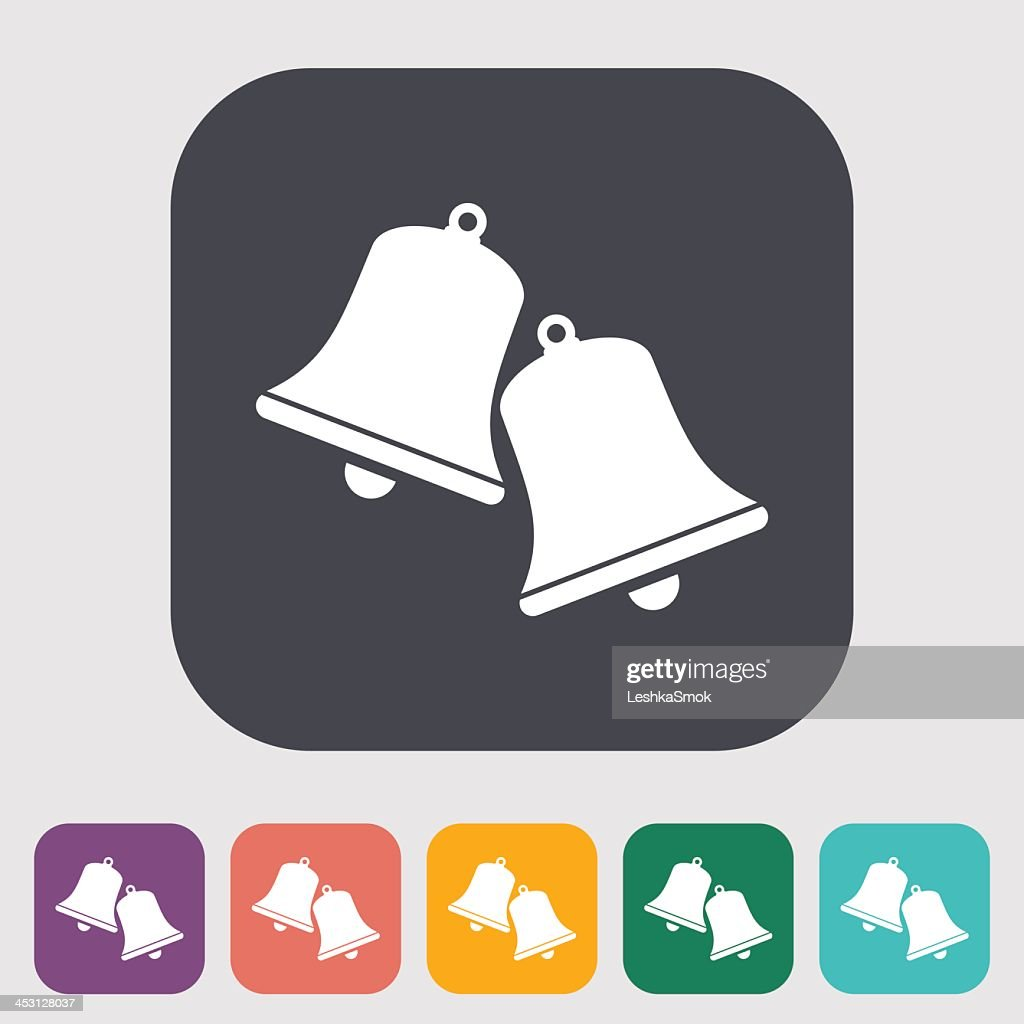 Christmas bells icon on colored square with other options