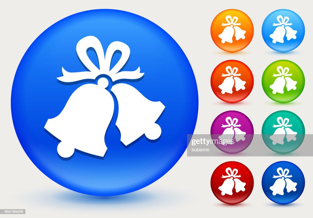 Christmas Bells Icon on Shiny Color Circle Buttons