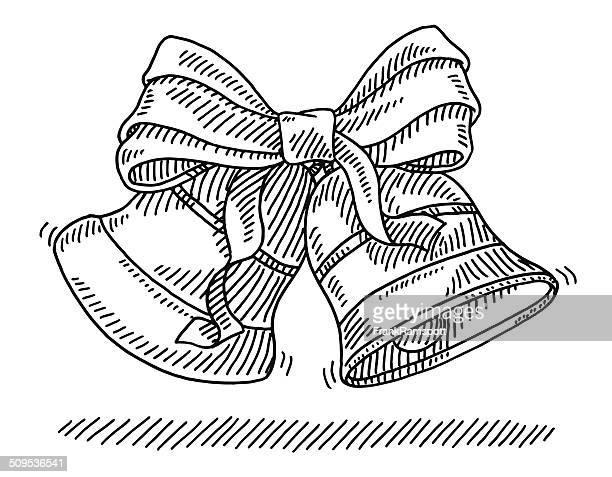 christmas bells ribbon drawing - chinese lantern lily stock illustrations