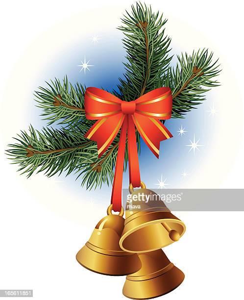 christmas bells - tannenzweig stock-grafiken, -clipart, -cartoons und -symbole
