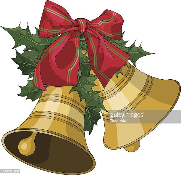 christmas bells with holly and bow - chinese lantern lily stock illustrations