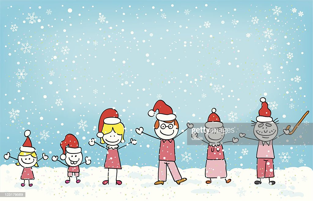 Mother Christmas Cartoon.Christmas Big Family Cartoon Illustration With