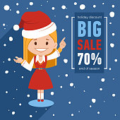 Christmas big sale banner. Illustration with Santa