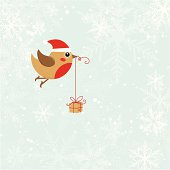 Christmas bird with gift
