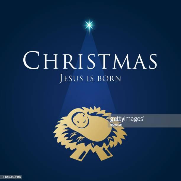 christmas birth of jesus christ - north star stock illustrations