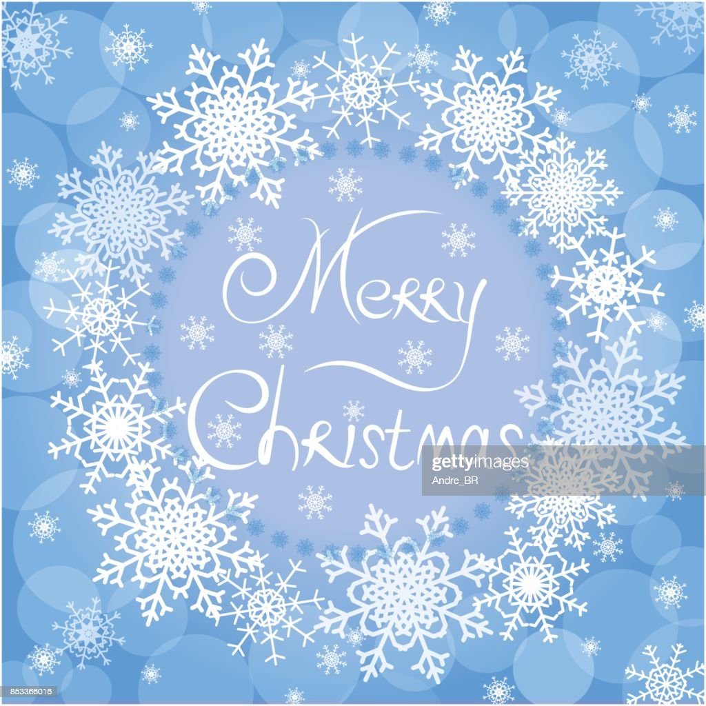 Christmas blue greeting card with text Merry Christmas