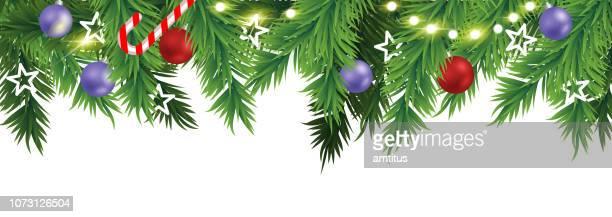 weihnachten-bordürenmuster - tannenzweig stock-grafiken, -clipart, -cartoons und -symbole