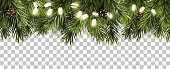 Christmas border with fir branches and pine cones on transparent background
