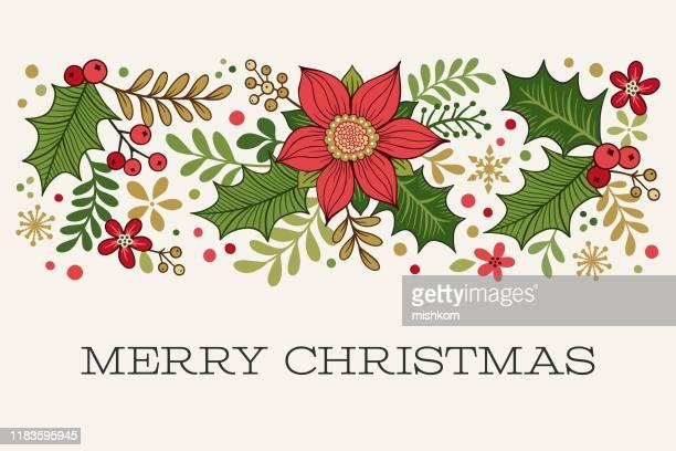 ilustraciones, imágenes clip art, dibujos animados e iconos de stock de frontera de navidad con saludo - flor de pascua