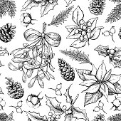 Christmas botanical seamless pattern. Hand drawn vector backgrou