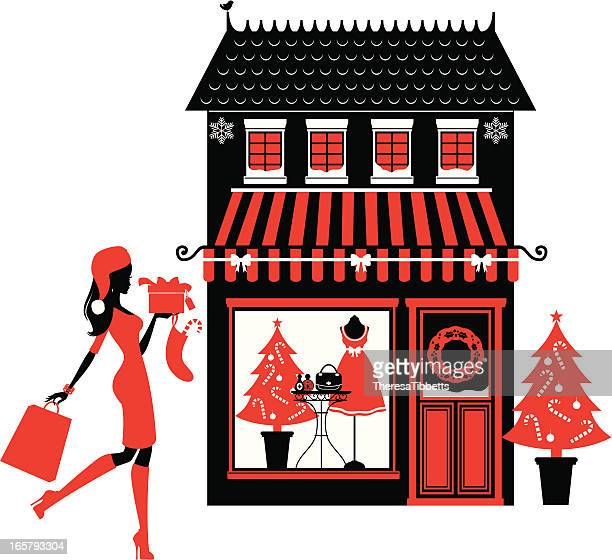 christmas boutique - boutique stock illustrations, clip art, cartoons, & icons