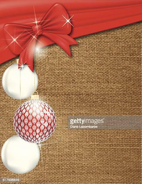 クリスマスリボン、装飾品の背景に、バーラップ - 荒い麻布点のイラスト素材/クリップアート素材/マンガ素材/アイコン素材