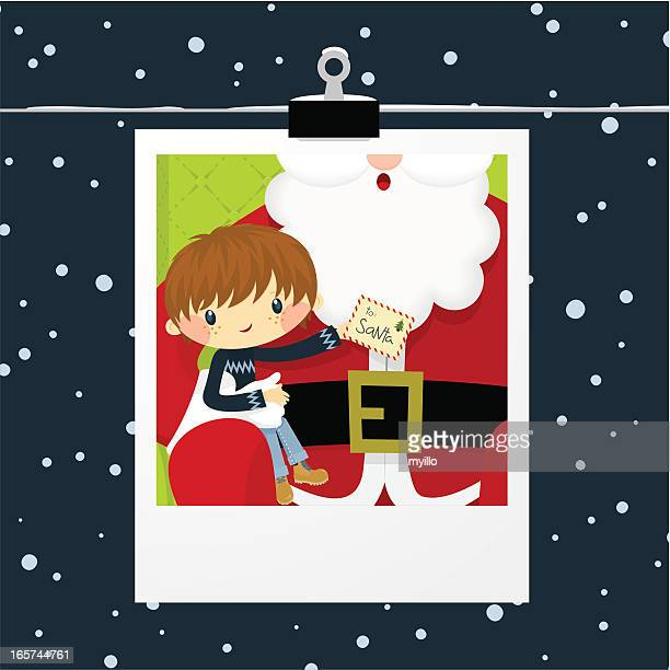 christmas, boy and santa claus photo - 2 5 months stock illustrations