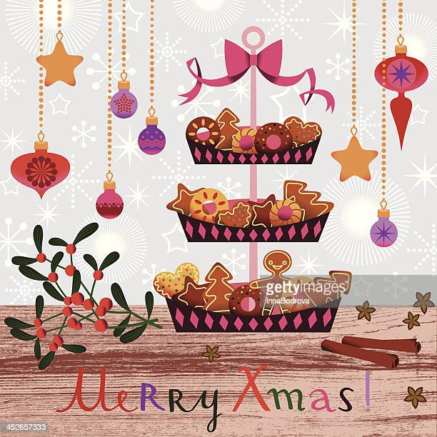 christmas cakes and cookies. - making a cake stock illustrations, clip art, cartoons, & icons