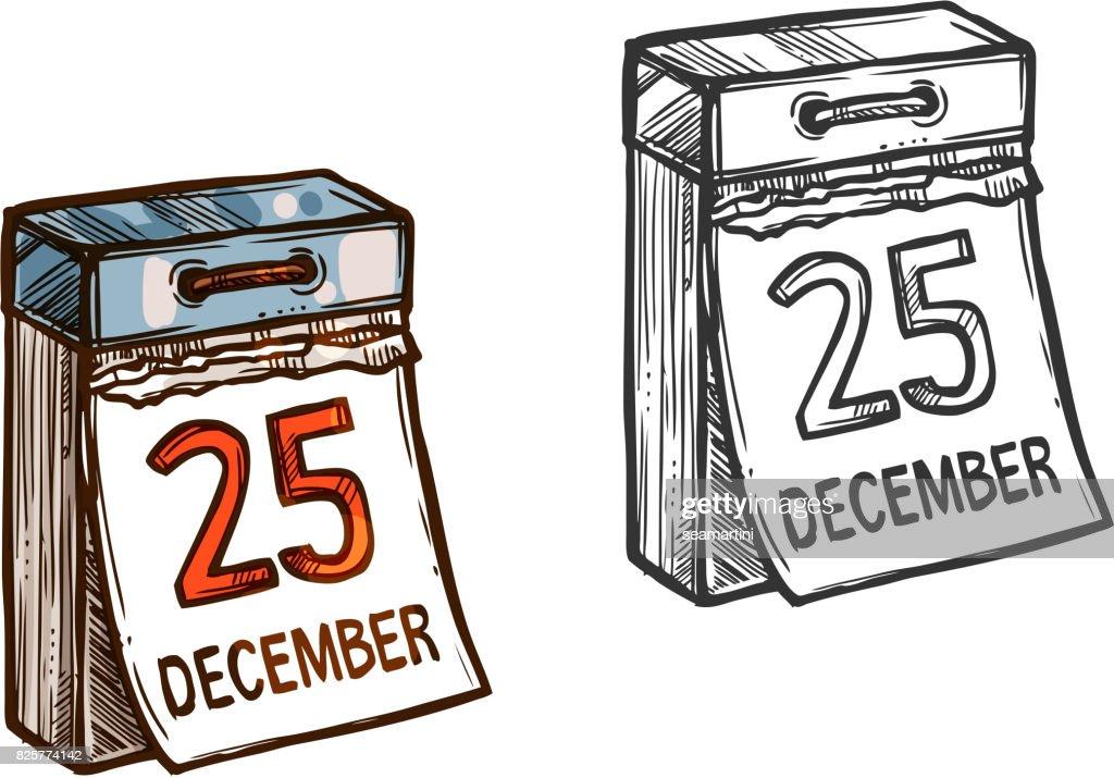 Christmas calendar date vector sketch icon