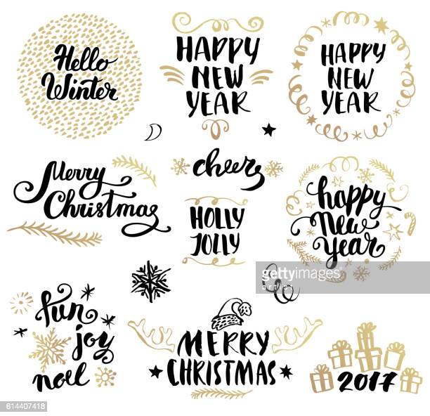 illustrations, cliparts, dessins animés et icônes de christmas calligraphy set - calligraphie