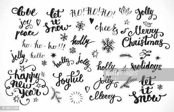 christmas calligraphy set - non western script stock illustrations