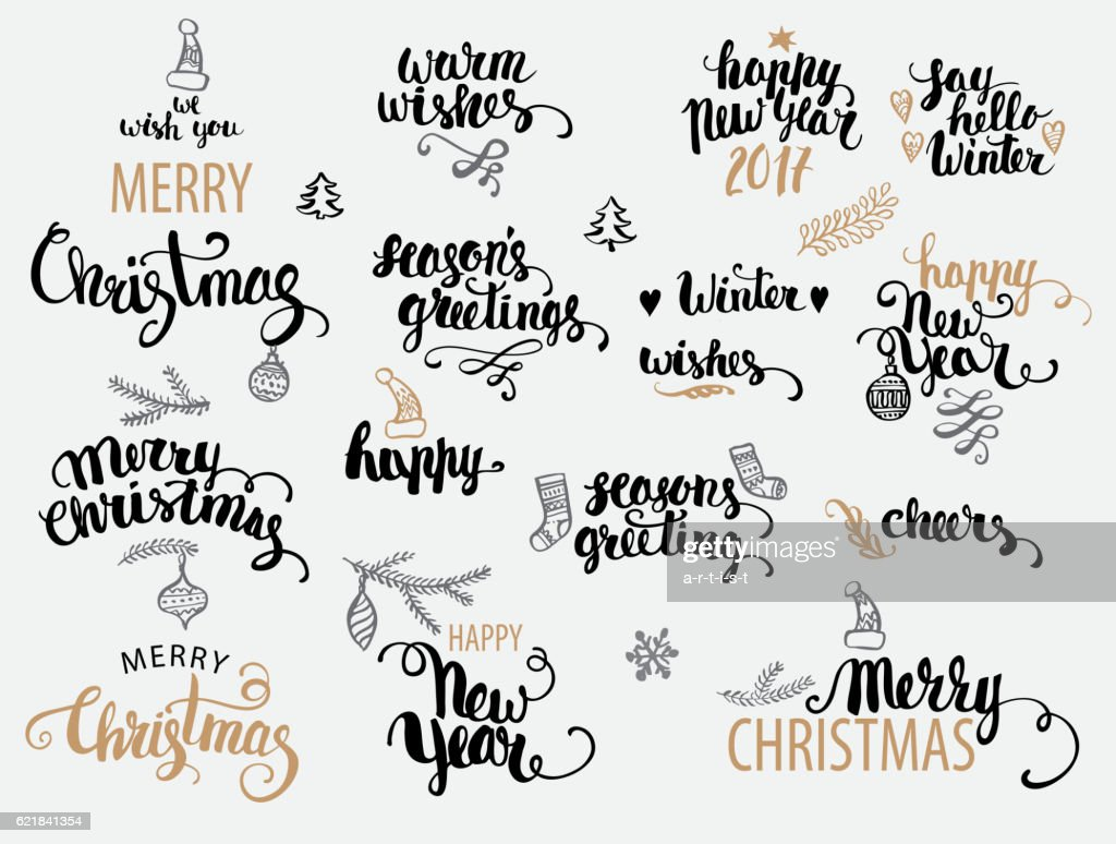 Christmas Calligraphy Set Vector Art | Getty Images