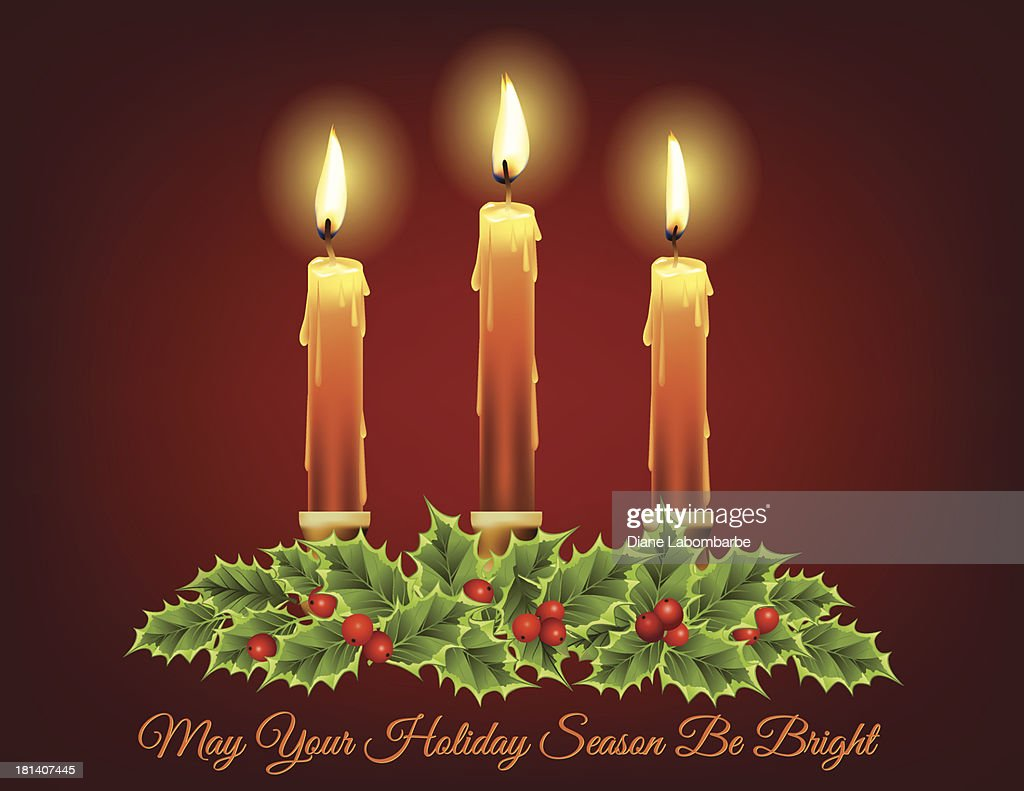 christmas candle and evergreens template vector art getty images