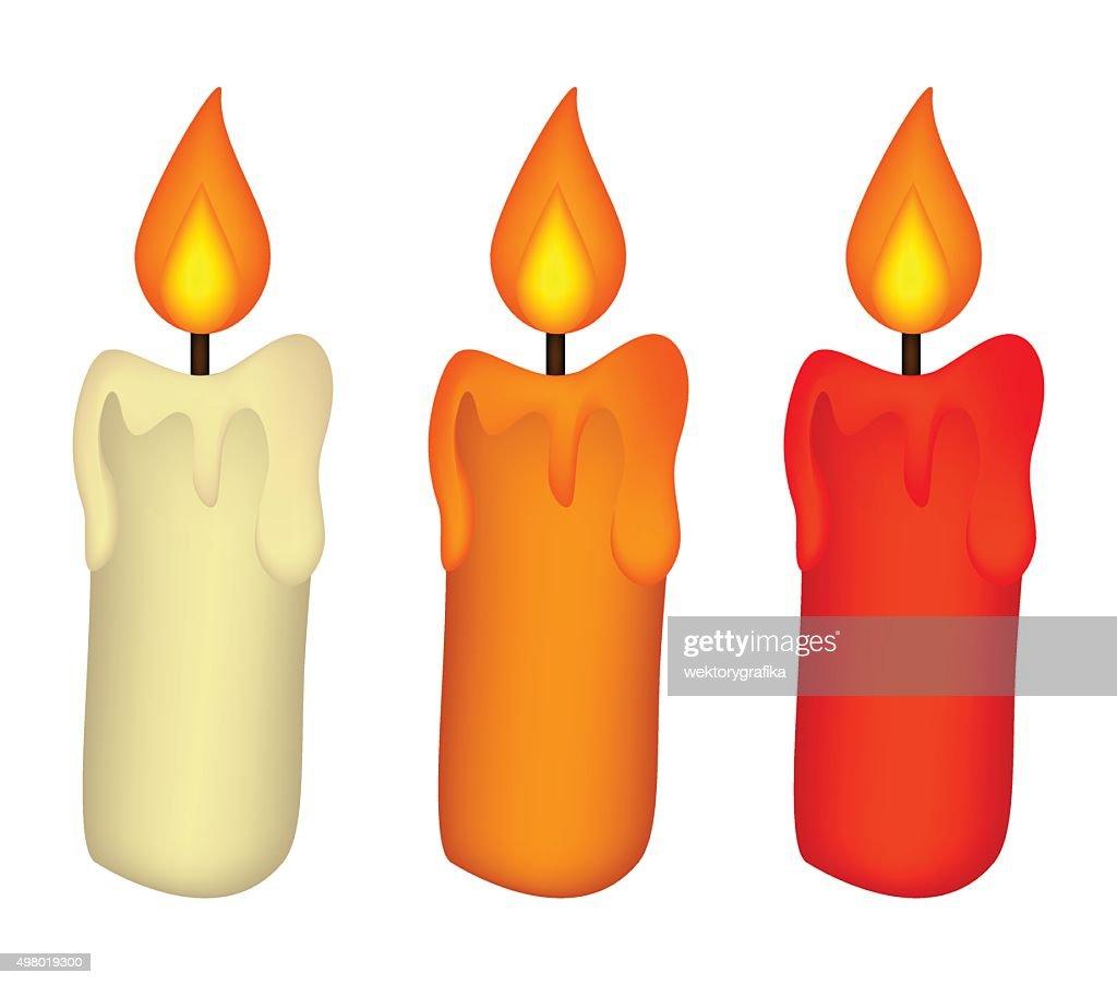 Christmas candle set, burning wax candle icon, symbol, design.