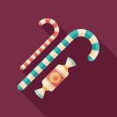 Christmas candy flat square icon with long shadows.