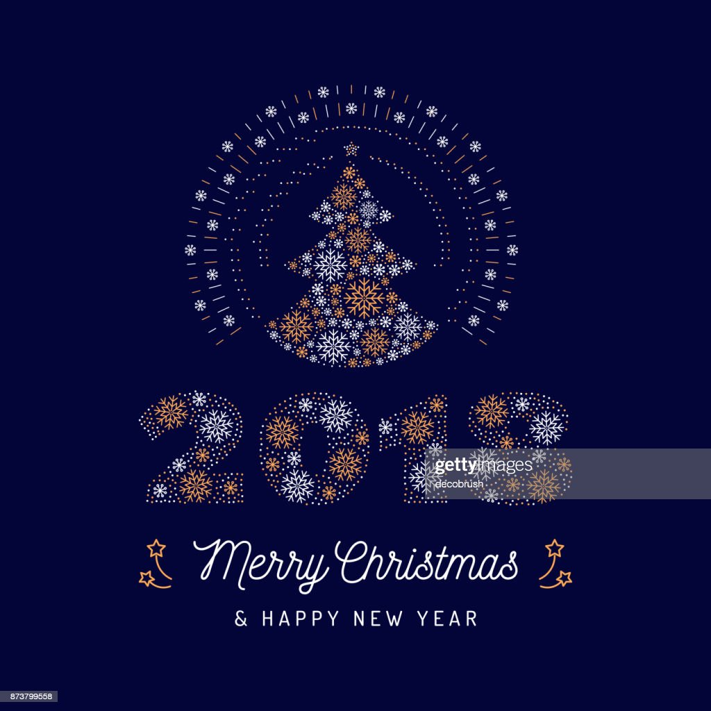 Christmas Card And New Year 2018 Poster Christmas Tree And Number