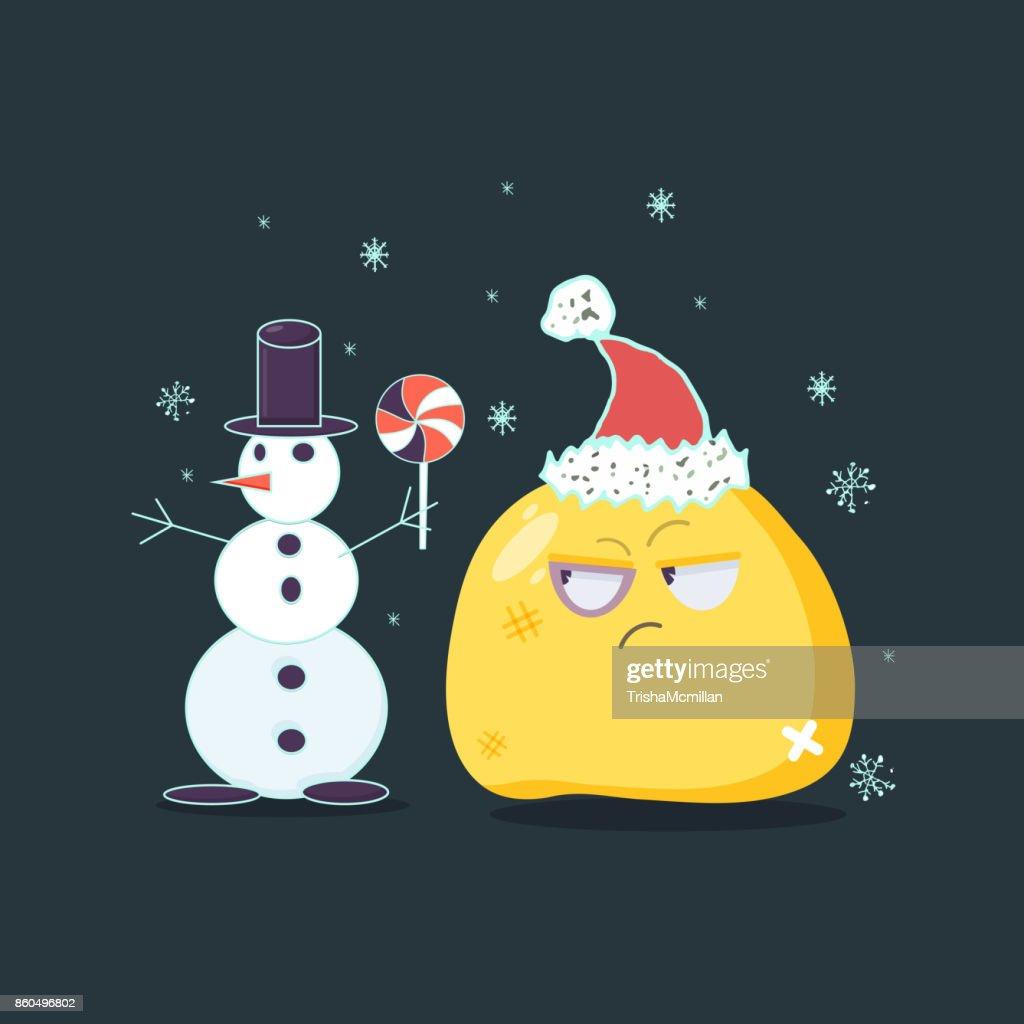 Christmas card. Beaten emoji character. Vector flat style.