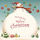 Christmas Card - big snowman