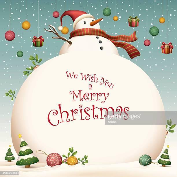 christmas card - big snowman - snowman stock illustrations