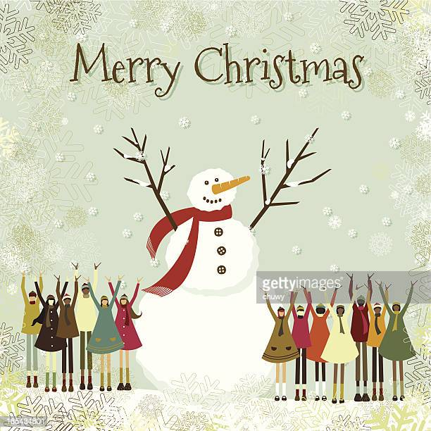 Christmas card children snowman multiethnic text