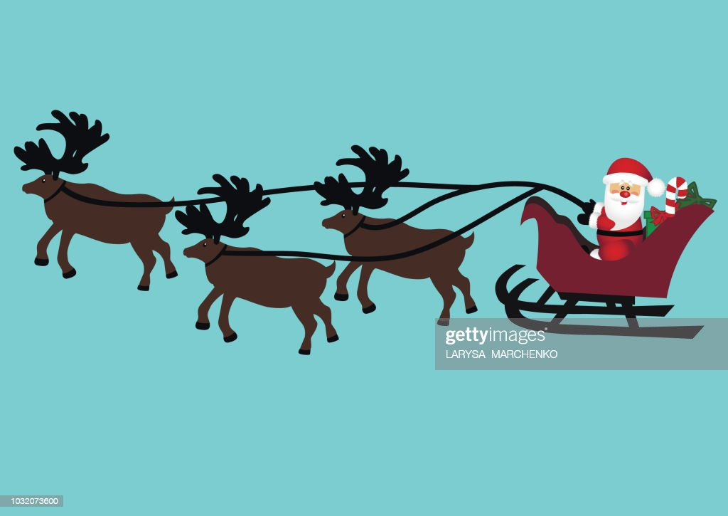 Christmas card. Christmas reindeers and Santa. Isolated object.