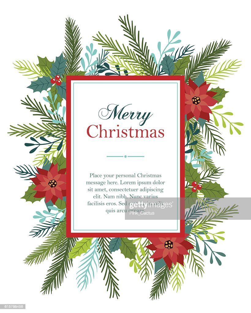 Christmas card design with flowers and fir.