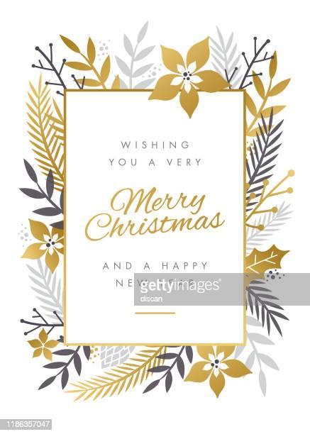 ilustraciones, imágenes clip art, dibujos animados e iconos de stock de diseño de tarjeta de navidad con marco de flores. - flor de pascua