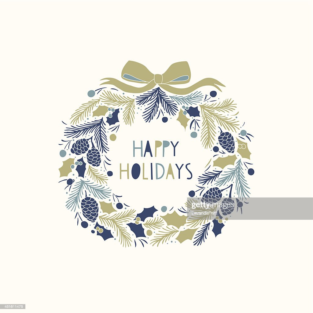 Christmas card design with Happy Holidays