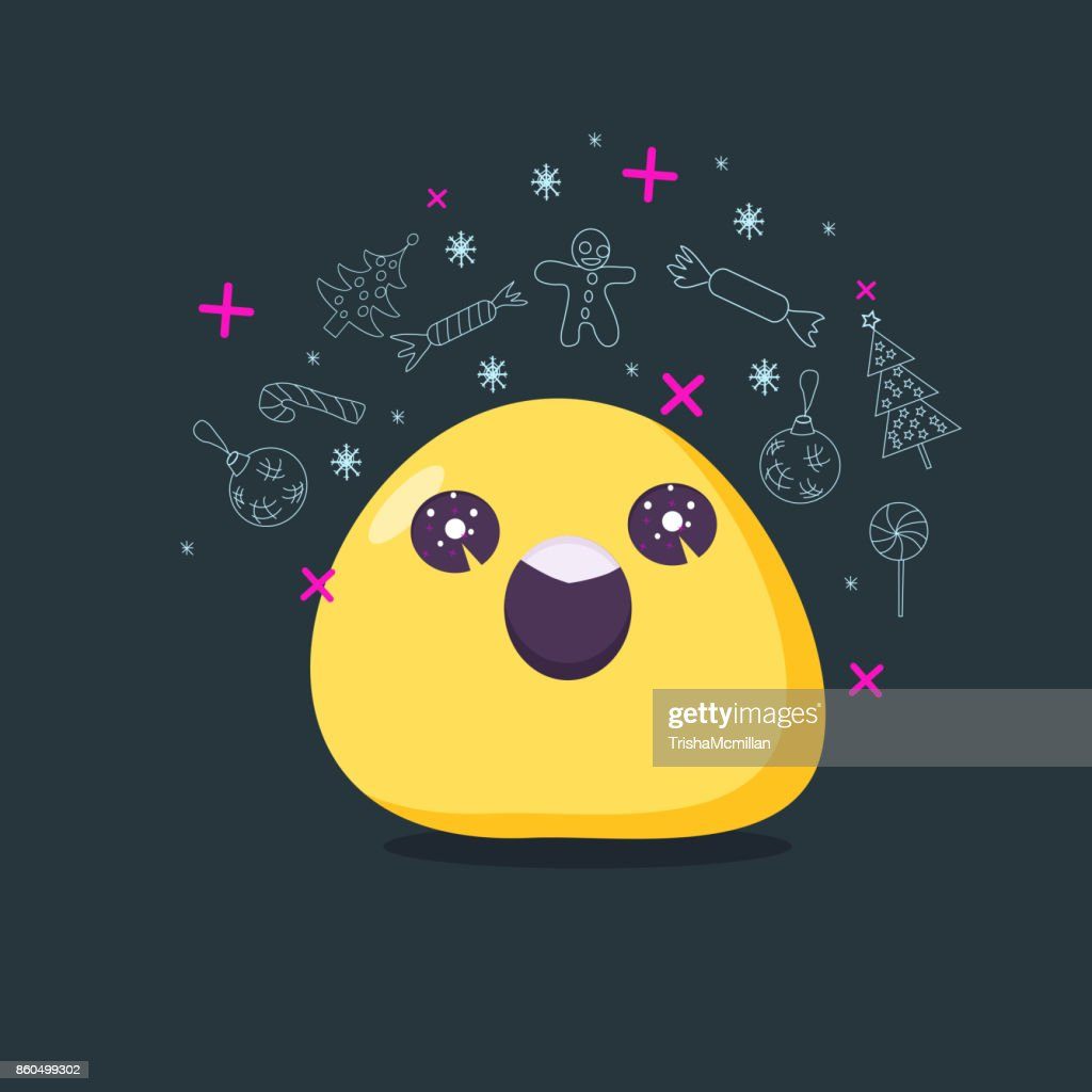 Christmas card. Emoji character in euphoria . Vector flat style.