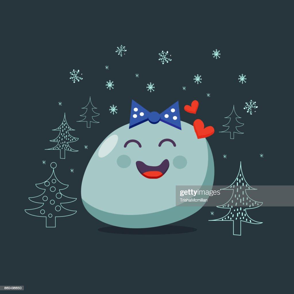 Christmas card. Enamored emoji character. Vector flat style.